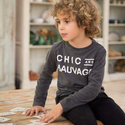"Boys Heather Grey ""Tchatcheur"" T Shirt"