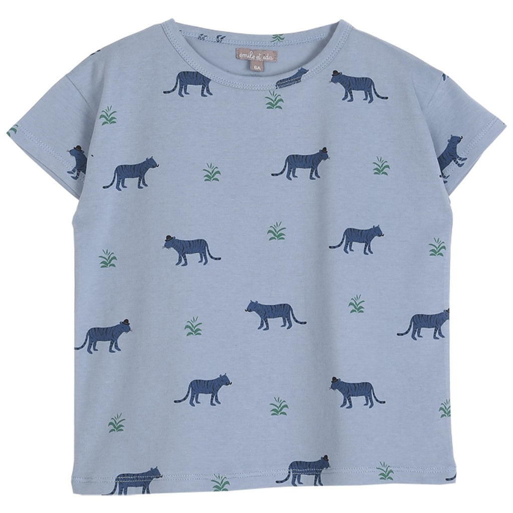 Boys Organic Cotton Blue Tigers T Shirt