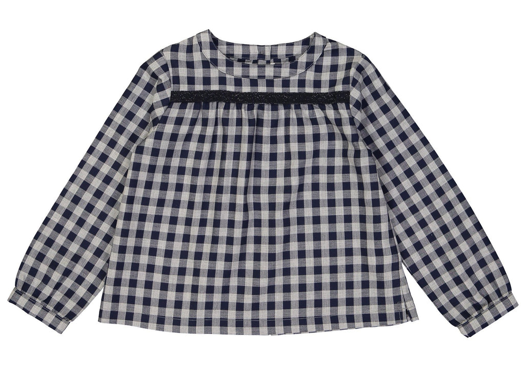 Girls Gabrielle Navy Gingham Blouse