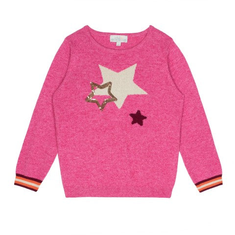 Girls Pink Sequin Star Jumper