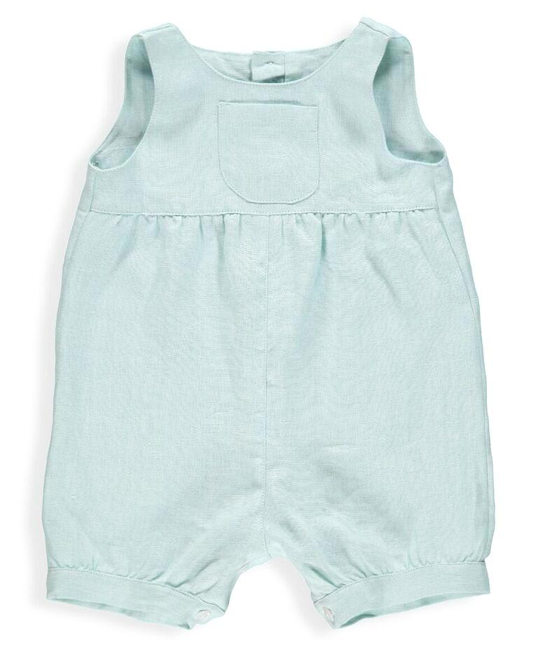 Baby Julio Pale Green Linen Rompers