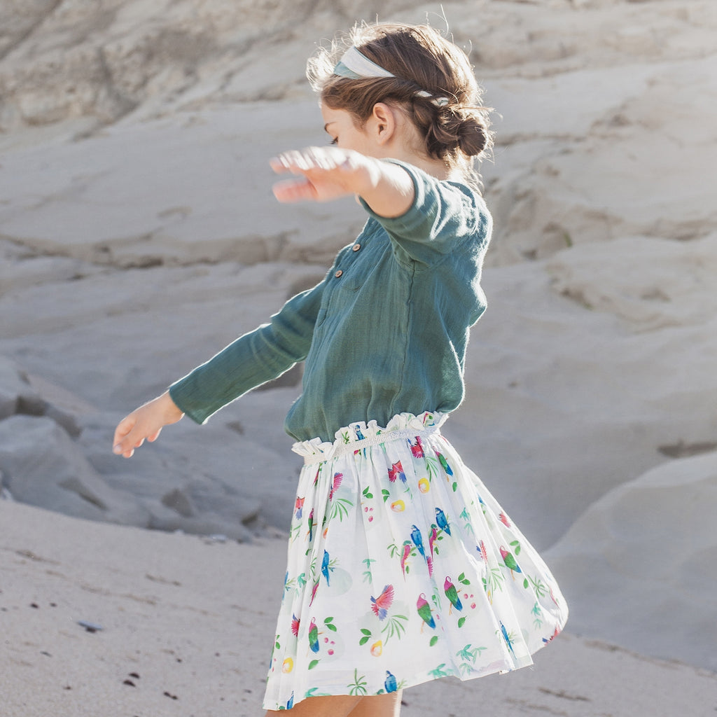 Girls Solenne Parrot Print Skirt