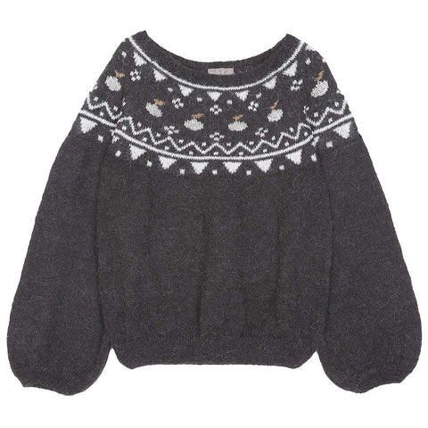 Girls Slate Blue Sequin Leopard Jumper