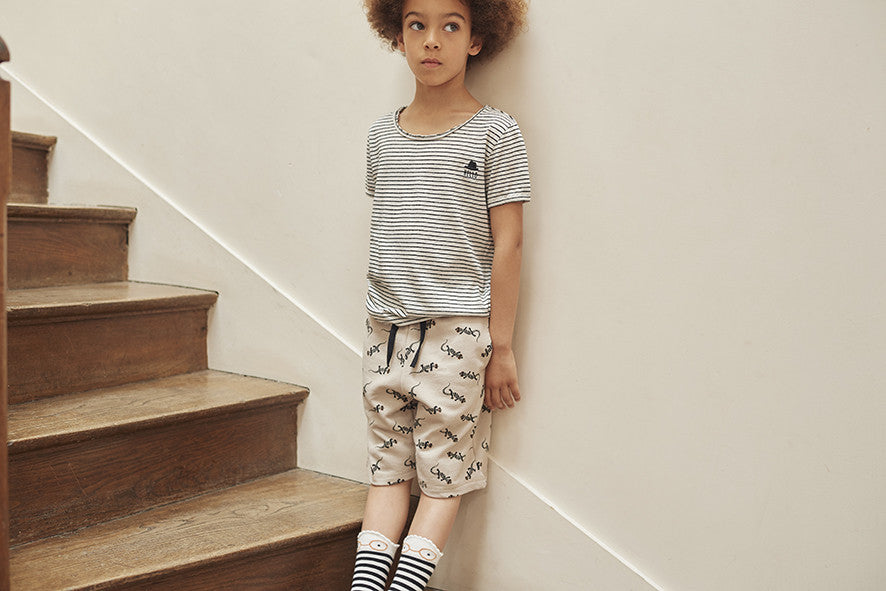 Boys Taupe Pin Bermuda Shorts