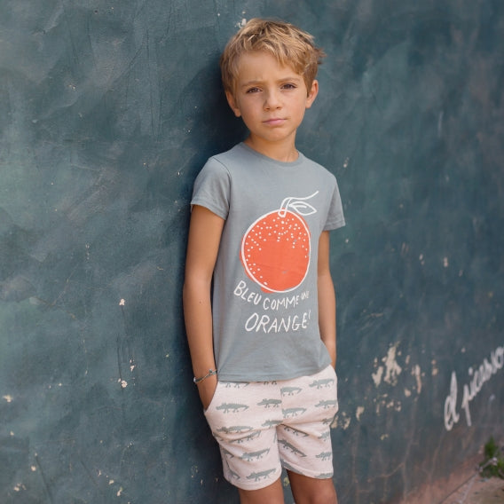 "Boys Nael Sage Green ""Bleu Comme Une Orange"" T Shirt"