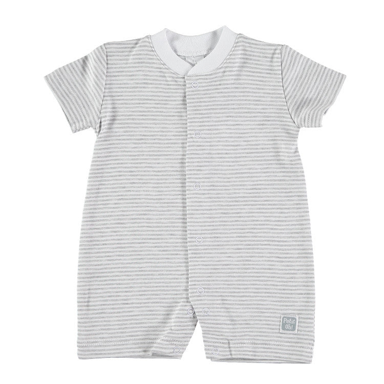 Baby Prima Cotton Verano Short Sleeves Pyjamas, Grey Stripes.
