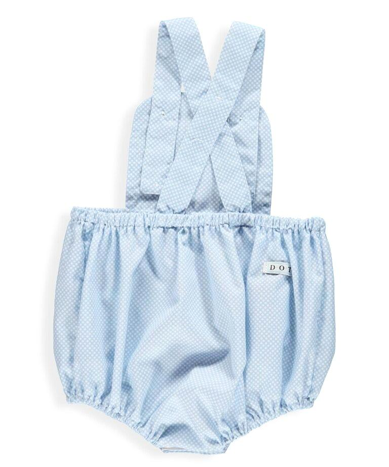 Baby Blue White Dot Romper