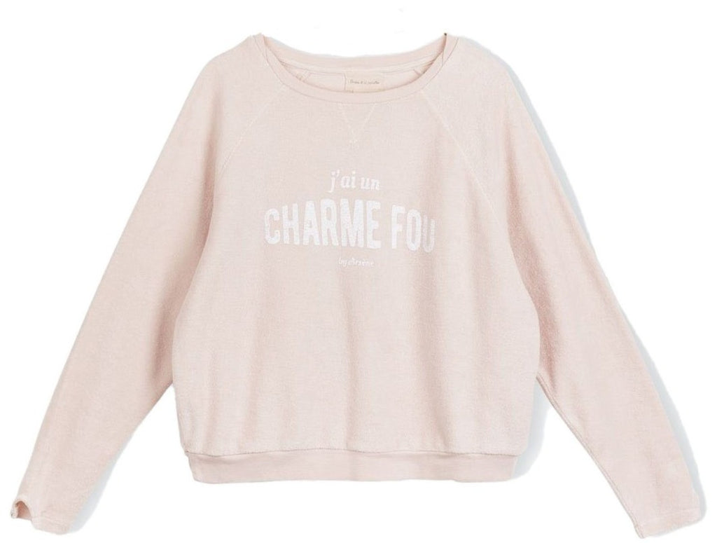 "Girls Sebus ""Charme Fou"" Powder Pink Sweatshirt"