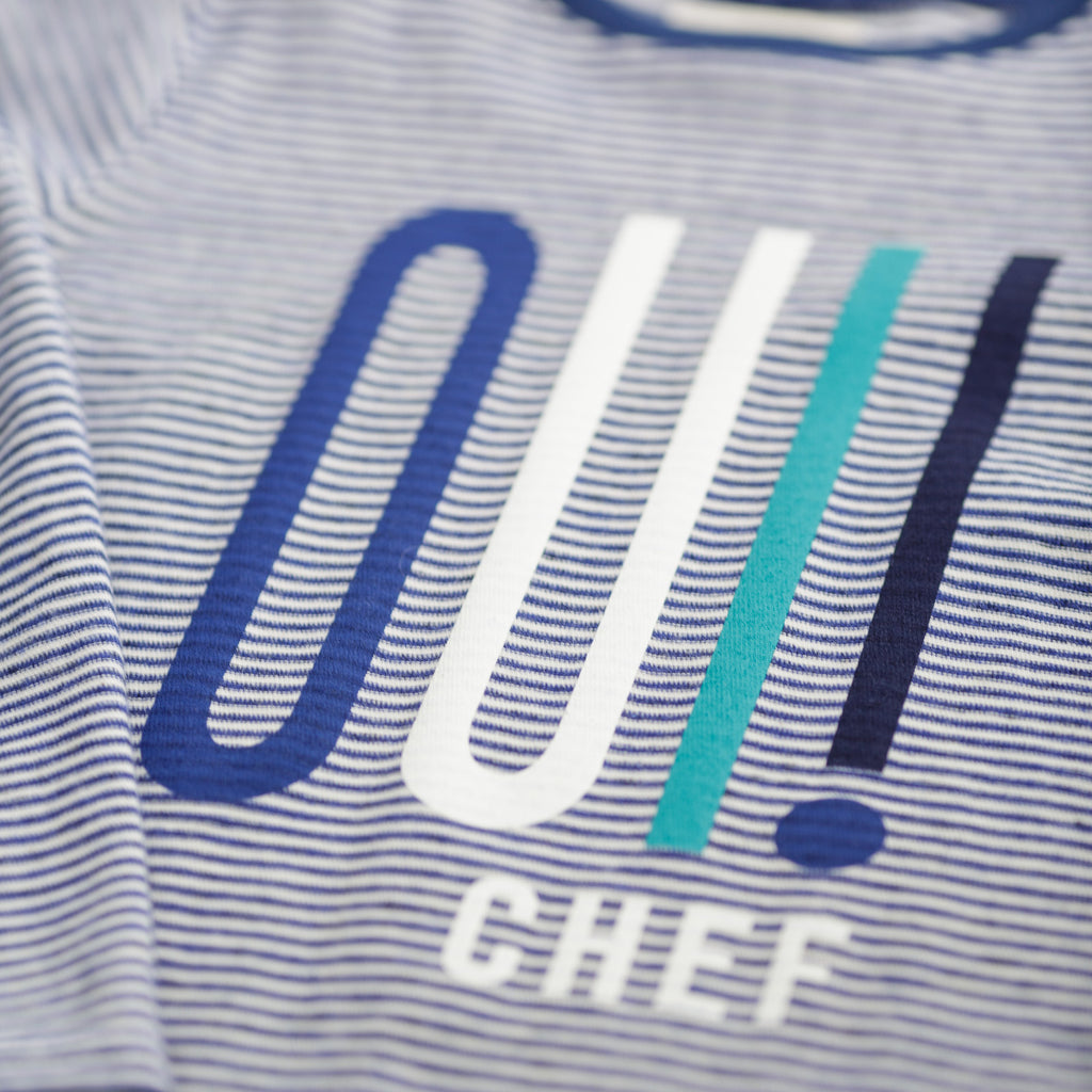 "Boys Russ Navy Stripe ""Oui Chef!"" T-Shirt"