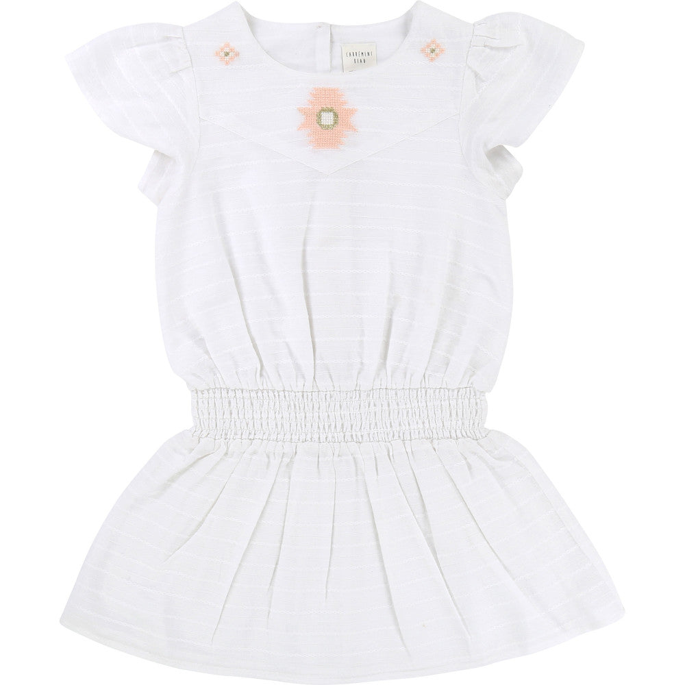 Girls White & Pink Embroidered Dress