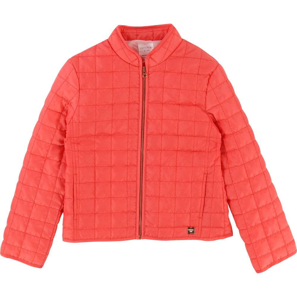 Girls Coral Pink Quilted Jacket