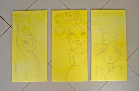Alice in Wonderland sketch - custom painting in progress