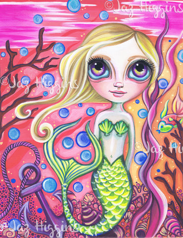 """Coral Reef Mermaid"" Art Print"