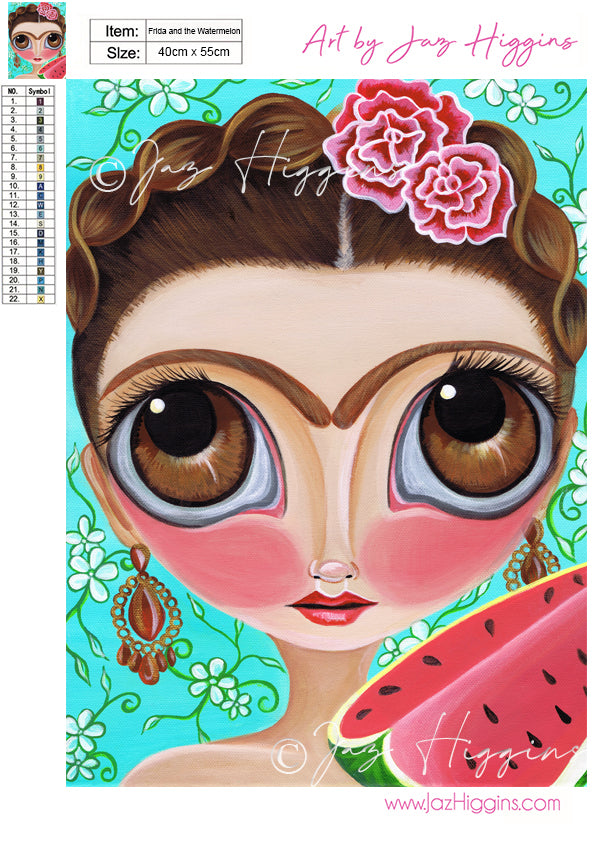 """Frida and the Watermelon"" Diamond Painting Kit"