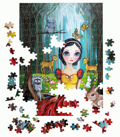 """Snow White in the Enchanted Forest"" 500 or 1000 Piece Jigsaw Puzzle"