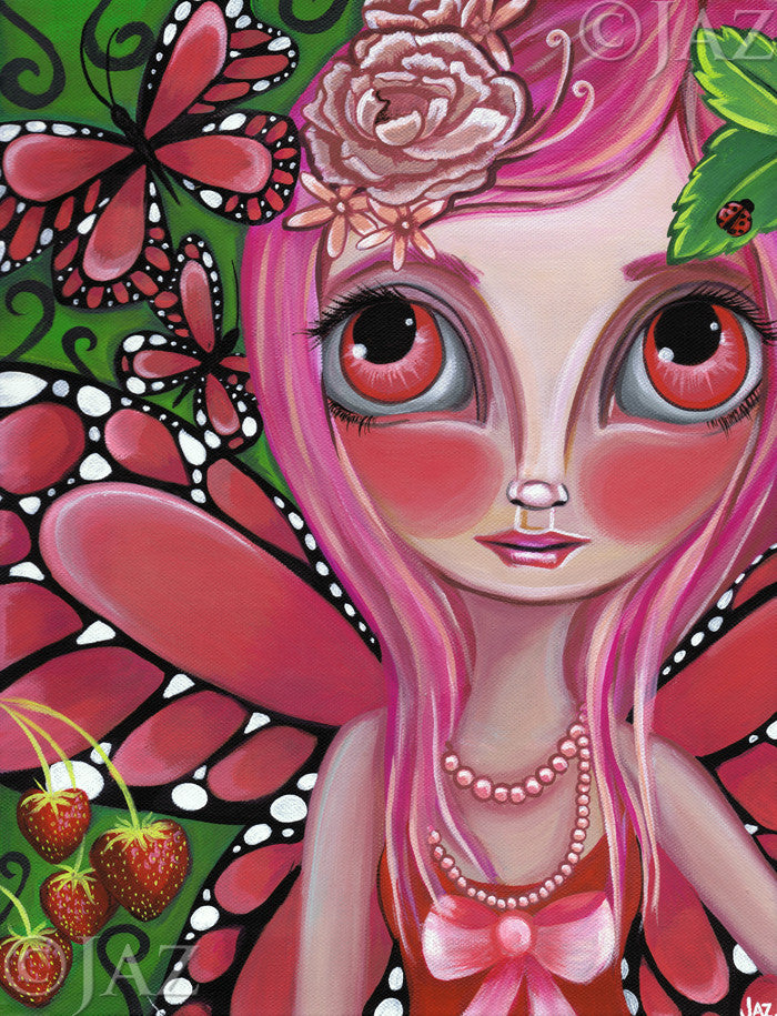 """Strawberry Butterfly Fairy"" Art Print"
