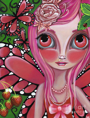 Strawberry Butterfly Fairy - Art Print