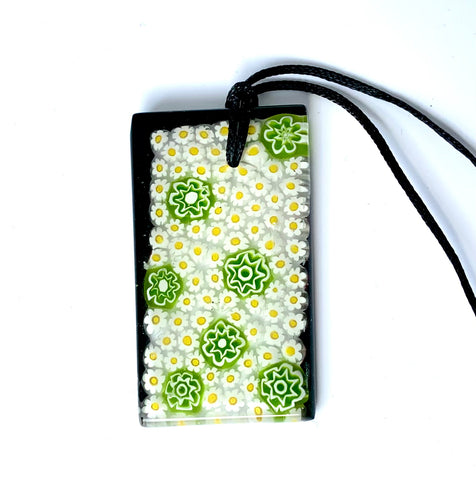 Green Flower Power Millefiori Pendant