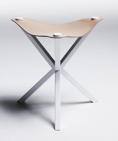 NEB STOOL - WHITE WITH NATURAL LEATHER SEAT , stool - Per Soderberg | No Early Birds, alimitlessworld  - 1