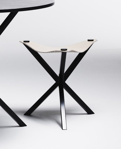 NEB STOOL BLACK WITH WHITE LEATHER SEAT , stool - Per Soderberg | No Early Birds, alimitlessworld