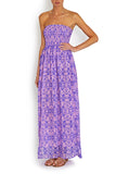 Maxi dress in purple sea shimmering in SILK , Dress - BEACH CANDY, alimitlessworld  - 1