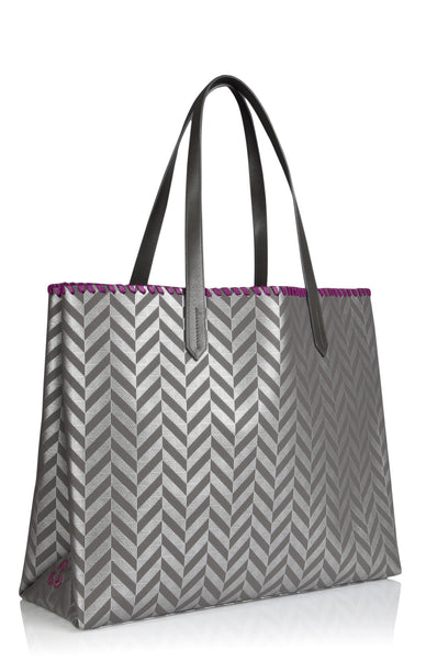 Tote bag Edna at Anatolia in Silver Grey with purple lining , Tote bag - Misela, alimitlessworld