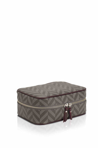 Elena at Anatolia canvas cosmetic bag in Grey/ Black/ Bordeaux , cosmetic bag - Misela, alimitlessworld