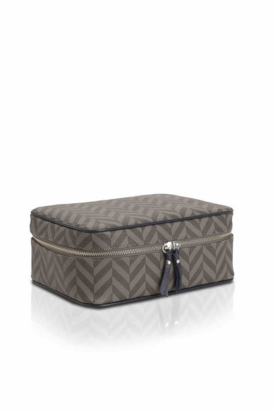 Elena at Anatolia Canvas Cosmetic bag in Grey/ Black/Navy , cosmetic bag - Misela, alimitlessworld