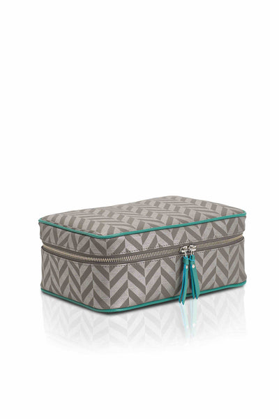 Elena at Anatolia Canvas Cosmetic bag in Silver Grey/ Aqua , cosmetic bag - Misela, alimitlessworld