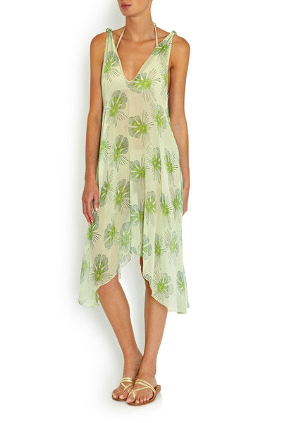 Rosie Dress Green Flying Fish in SILK , dress - BEACH CANDY, alimitlessworld  - 1