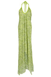 SCARF DRESS Green Sea Shimmer in silk , Dress - BEACH CANDY, alimitlessworld  - 2