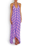 SCARF DRESS Purple Karma Crab in silk , Dress - BEACH CANDY, alimitlessworld  - 1