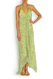 SCARF DRESS Green Sea Shimmer in silk , Dress - BEACH CANDY, alimitlessworld  - 1