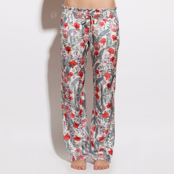 TROUSERS MANOLA IN WHITE FLOWER PRINTS SILK , trousers - MY JEMMA, alimitlessworld  - 1
