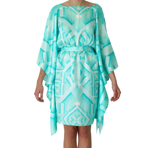 Oceanic Short Kaftan in turquoise , Kaftan - Sea Sage, alimitlessworld  - 1