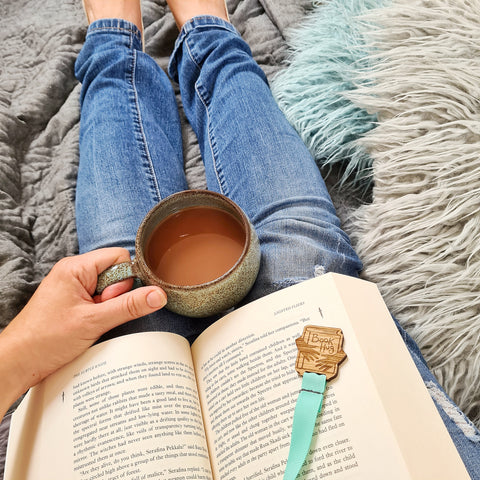Book chilling cuppa and bookmark