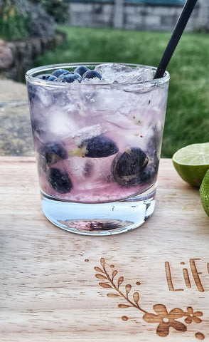 Blueberry Sour gin cocktail with violet gin