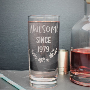 Engraved tall gin glass personalised with birthday year on and flower design
