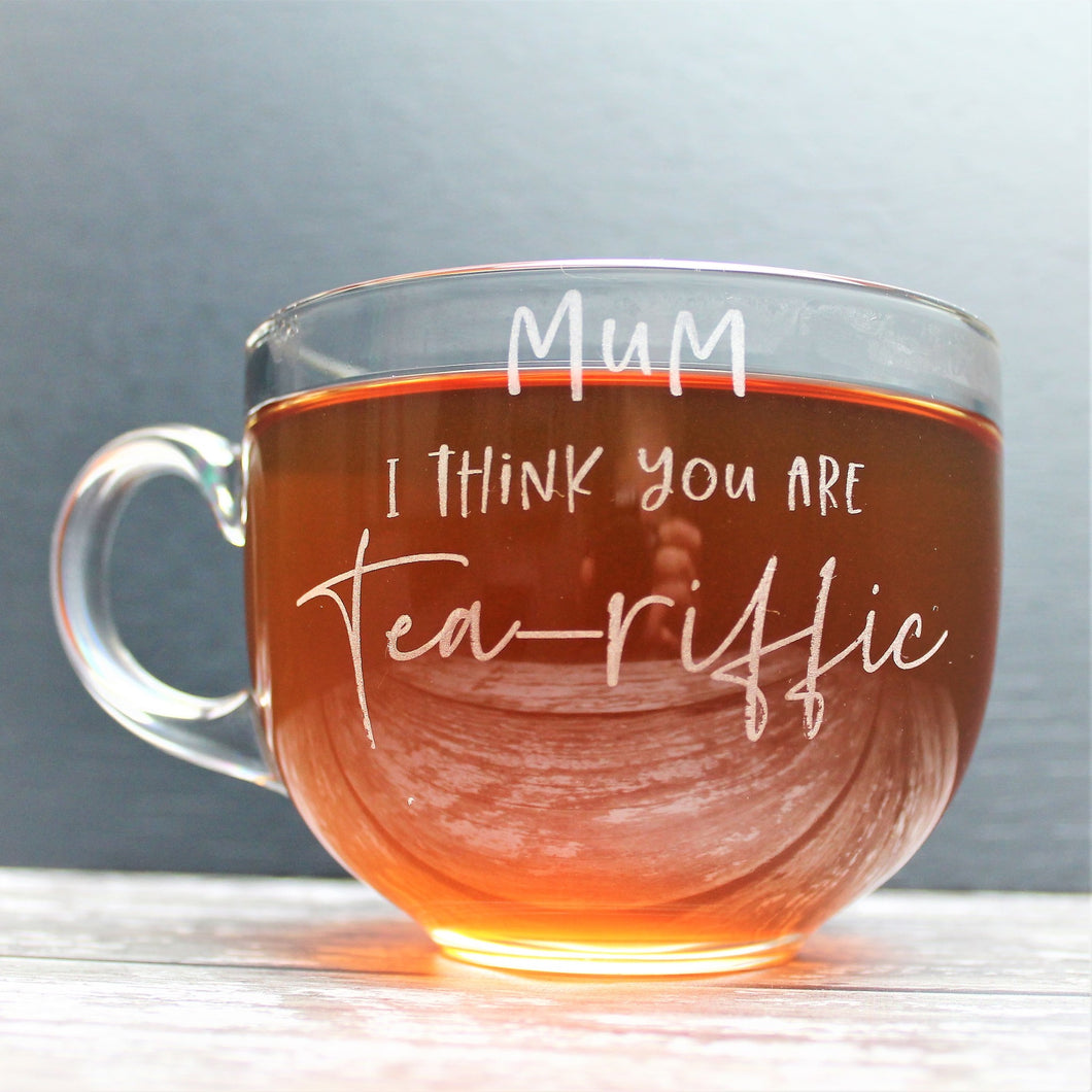 Large tea glass mug for mum