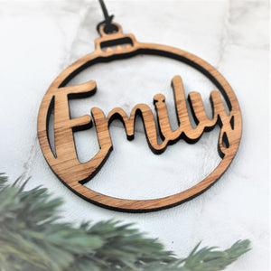 Wooden personalised Christmas tree ornament. Can be used as table place idea at the Christmas  dinner table.