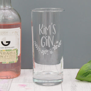 Tall gin glass engraved with the personalised text of your choice, with added floral design elements