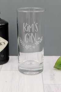 customised highball gin glass, engraved with text of your choice. Ideal gin lovers gift with floral design