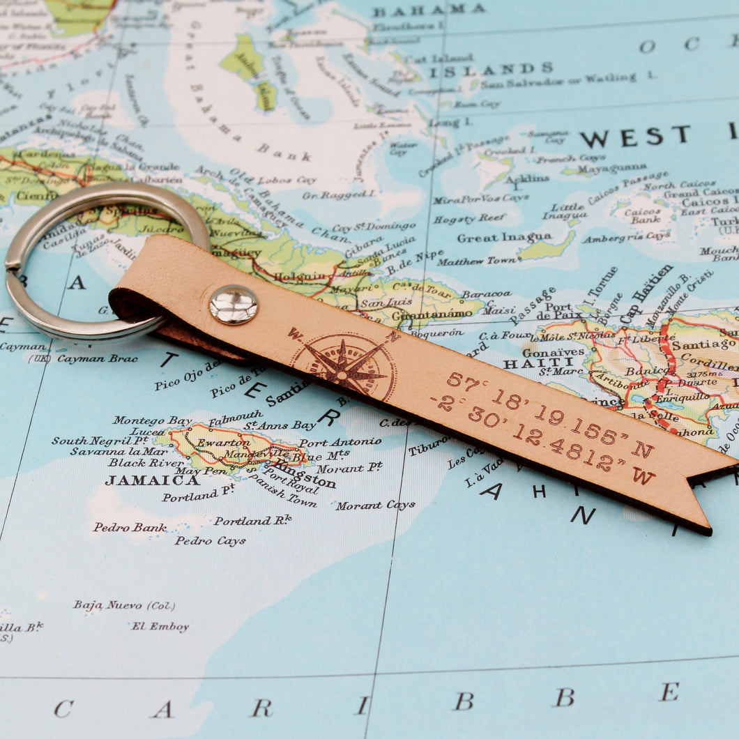 Custom Coordinate Leather Keyring - Longitude Latitude GPS