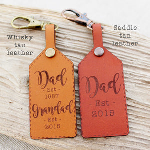 Husband / Daddy Established Est Grandad Date Keyring