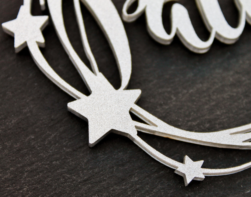 Silver Star Customised Name Bauble