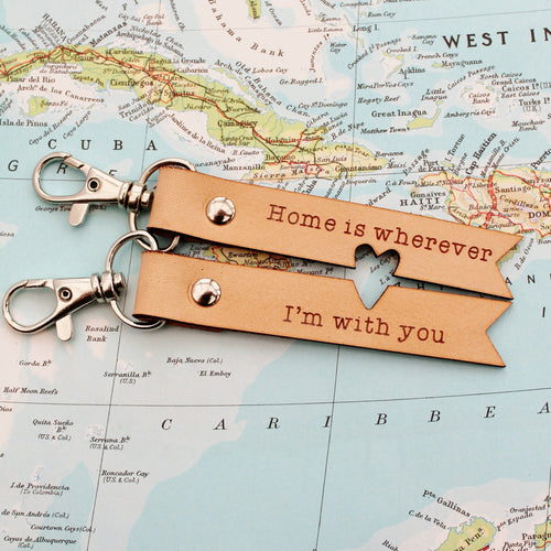 Leather couple keyring 3 year anniversary gift