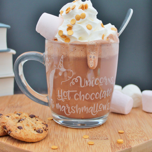 Unicorn Hot Chocolate Mug Glass