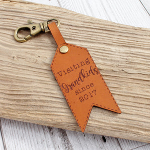 Visiting Grandkids Since-  Leather Luggage Tag