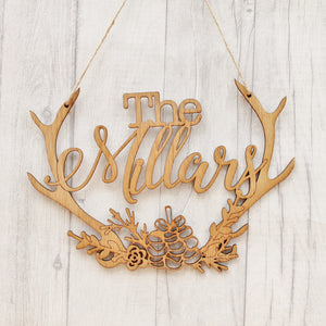 Wooden Family Antler Sign