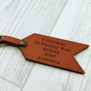 Personalised Funny Leather Luggage Tag - Hands Off!